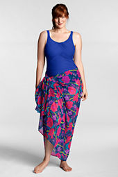 Women's Plus Size Poppy Floral Chiffon Pareo Cover-up