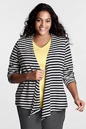 Women's Plus Size Starfish Long Sleeve Stripe Cotton Modal Terry Drape Cardigan