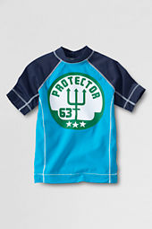 Boys' Short Sleeve Tropical Turquoise Graphic Rash Guard