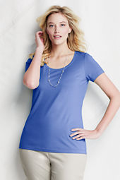 Women's Short Sleeve Fitted Lightweight Cotton Modal Scoop T-shirt