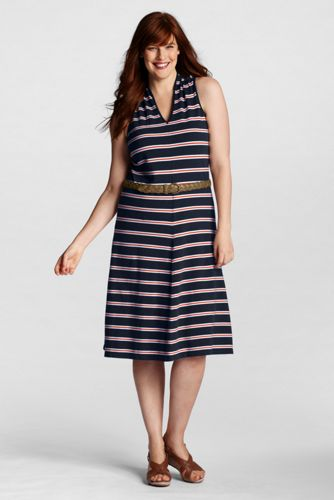 Women's Plus Size Sleeveless Pattern Pique V-neck Dress - Crimson Clay Stripe
