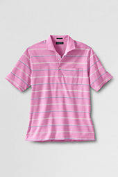 Men's Short Sleeve Tailored Fit Mercerized Stripe Oxford Polo Shirt
