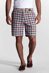 "Men's 9"" Plain Front Madras Bermuda Shorts"