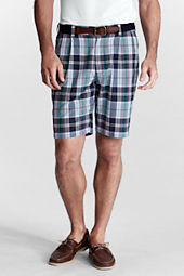 "Men's 9"" Pleat Front Madras Bermuda Shorts"