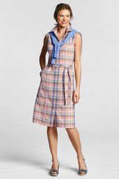 Women's Sleeveless Madras Shirtdress