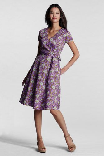 Women's Regular Pattern Surplice Dress - Orchid Petal Washed Floral, 14