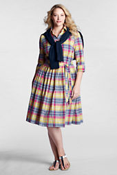 Women's Plus Size Pattern 3/4-sleeve Shirtdress