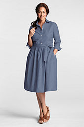 Women's Chambray 3/4-sleeve Shirtdress