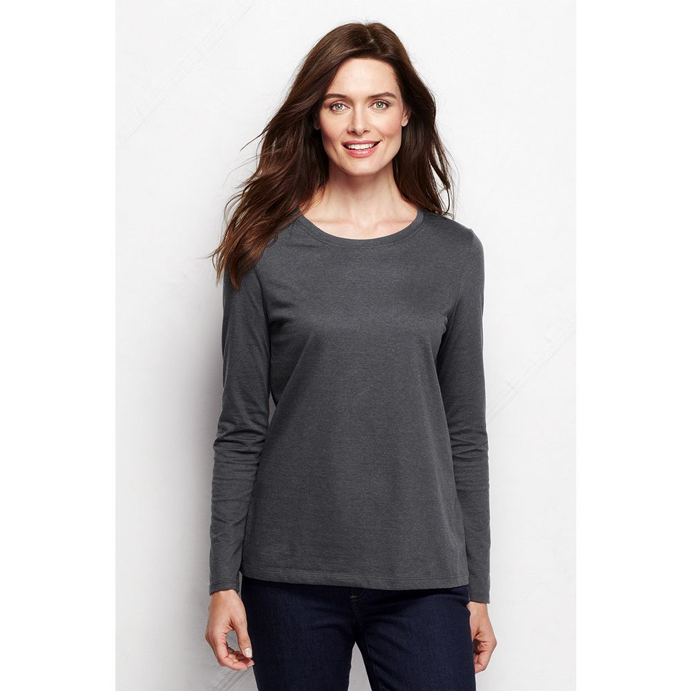 Lands' End Women's Petite Long Sleeve Relaxed Supima Crewneck T-shirt at Sears.com