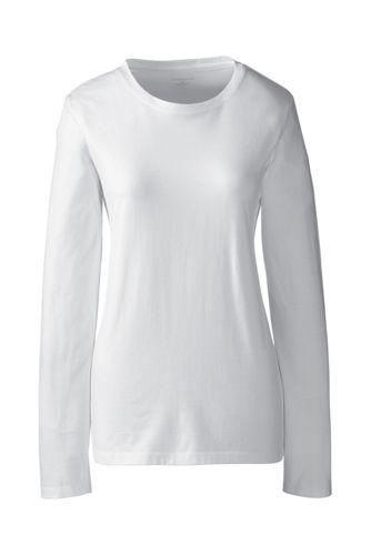 Supima Langarm-Shirt mit rundem Ausschnitt für Damen in Petite-Größe