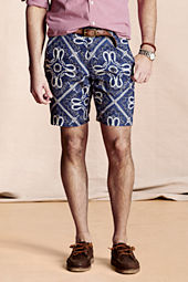 Men's Bandana Print Linen Shorts