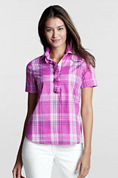 Women's Short Sleeve Pattern Cotton Voile Polo