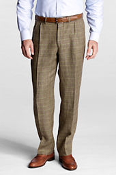 Men's Pleat Front Traditional Fit Comfort Waist Pattern Linen Trousers