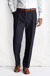 Men's Pleat Front Traditional Fit Comfort Waist Linen Cotton Trousers