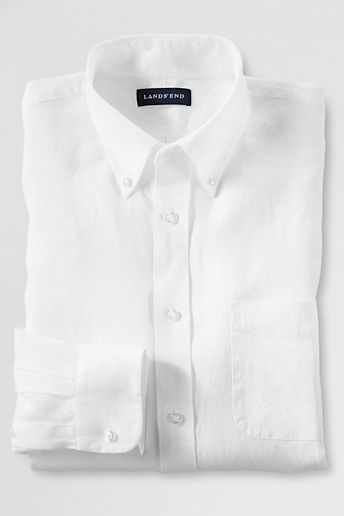 Men's Tall Tailored Fit Irish Linen Shirt - White, 16H36