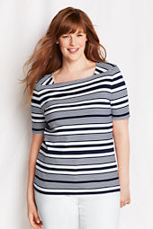 Women's Plus Size Elbow Sleeve Stripe Squareneck Supima Top