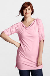 Women's Plus Size Half Sleeve Lightweight Cotton Modal Drape Tunic