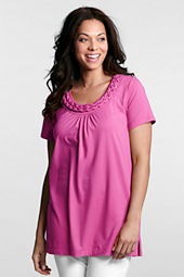 Women's Plus Size Short Sleeve Lightweight Cotton Modal Braided Tunic
