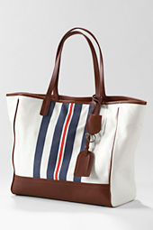 Women's Kirsten Canvas and Leather Stripe Large Tote Bag