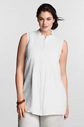 Women's Plus Size Linen Pintuck Shell
