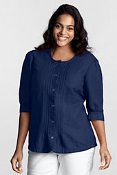 Women's Plus Size Petite 3/4-sleeve Linen Scoopneck Shirt