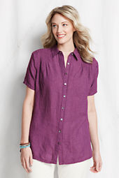 Women's Plus Size Short Sleeve Linen Blouse