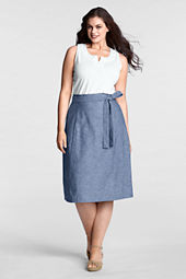 Women's Plus Size Elastic Waist Chambray Skirt