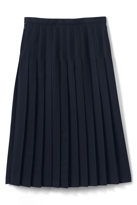 Girls Solid Long Pleated Skirt