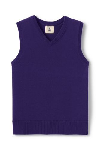 School Uniform Fine Gauge V-neck Vest from Lands' End