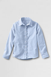 Little Girls' Long Sleeve Ruffle Placket Oxford Shirt