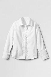 School Uniform Long Sleeve Ruffle Placket Oxford Shirt