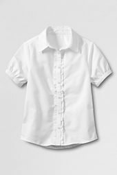 Little Girls' Short Sleeve Ruffle Placket Oxford Shirt
