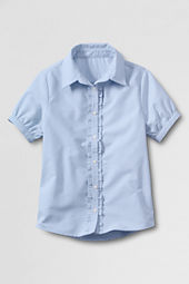 Women's Short Sleeve Ruffle Placket Oxford Shirt