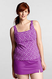Women's Plus Size Beach Living Batik Dot Squareneck Tankini Swimsuit Top