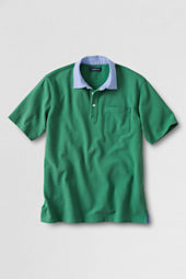 Men's Short Sleeve Original Woven Trim Mesh Polo Shirt