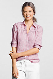 Women's Long Sleeve Striped Linen Smocked Shirt