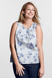 Women's Plus Size Sleeveless Pattern Voile Blouse