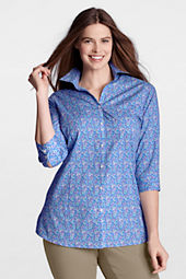 Women's Plus Size 3/4-sleeve Pattern Splitneck Stretch No Iron Tunic