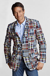 Men's Tailored Fit Madras Patchwork Sportcoat