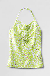 Girls' Gathered Flower Tankini Top