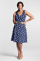 Women's Plus Size Sleeveless Cotton Modal Pattern V-neck Ruffled Dress