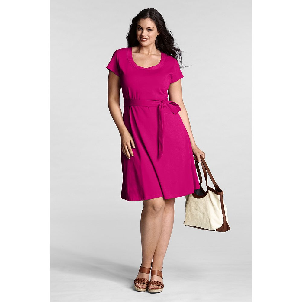 Lands' End Women's Plus Size Cotton Modal Trapunto Scoopneck Dress at Sears.com