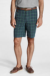 "Men's 9"" Plain Front Tartan Poplin Shorts"