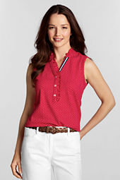 Women's Sleeveless Ruffle Dot Mesh Polo
