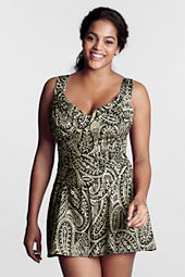 Women's Plus Size Paisley Print Slender Suit Draped Sweetheart Swimdress
