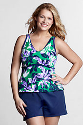 Women's Plus Size AquaTerra V-neck Floral Tankini Swimsuit Top