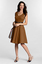 Women's Stretch Linen V-neck Dress