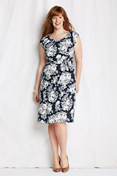 Women's Pattern Linen Shirred Sheath Dress