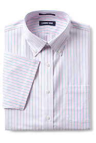 Men's Traditional Fit Short Sleeve Pattern No Iron Supima Oxford Dress Shirt