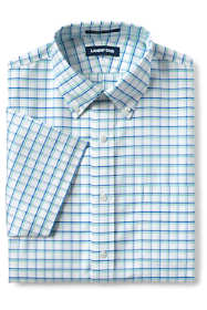 Men's Tall Traditional Fit Short Sleeve Pattern No Iron Supima Oxford Dress Shirt